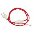 Przewód w oplocie kabel materiałowy czerwony - 2m