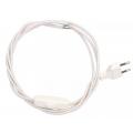 Przewód w oplocie kabel materiałowy biały- 2m